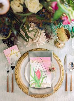 Tropical southern california table decor topped with a decorative airplant at Kimpton Goodland in Santa Barbara, CA. Second Weddings, Real Weddings, Our Wedding, Wedding Venues, Santa Barbara, Southern California, Wedding Planner, Blessed, Tropical