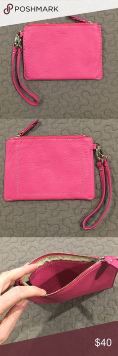 COLE HAAN leather wristlet Pretty raspberry pink pebbled leather wristlet by Cole Haan. In EUC, like new. One pocket inside. Cole Haan Bags Clutches & Wristlets
