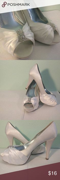 Satin Wedding Shoes 8.5 Lovely David's Bridal white satin high heels. Well loved, dirty in some places.  4 in heel. 1 in platform. Michaelangelo Shoes Heels