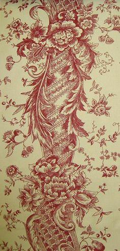 Pompadour Curtain Fabric Dark red printed floral stripe on dark beige