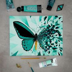 40 Oil Pastel Paintings For Beginners - Trend Topic For You 2020 Cute Canvas Paintings, Easy Canvas Art, Small Canvas Art, Mini Canvas Art, Pastel Paintings, Butterfly Painting, Butterfly Art, Mandala Art, Art Mini Toile