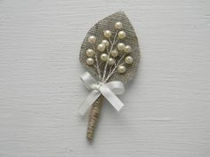 Set of 4 Ivory sprig pearl burlap Boutonniere by WeddingForYou, via Etsy. Boutonnieres, Burlap Boutonniere, Groomsmen Boutonniere, Diy Wedding, Wedding Gifts, Wedding Flowers, Brooch Bouquets, Bride Bouquets, Beaded Flowers
