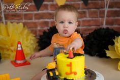 1st Birthday Cake Smash, Boy First Birthday, 1st Birthday Parties, Construction Cake Smash, Construction Theme, Boys Bday Cakes, James 1st, Cake Smash Photography, Construction Birthday Parties