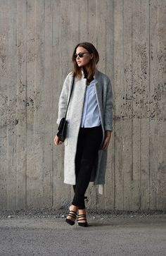 Grey Wrap Wool Coat