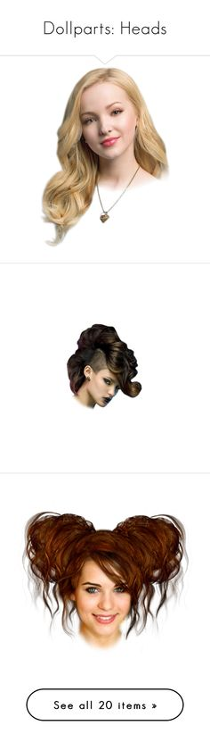 """""""Dollparts: Heads"""" by steampunk-cat ❤ liked on Polyvore featuring doll parts, dolls, heads, doll heads, people, paper doll, head, steampunk, body parts and doll parts - heads"""