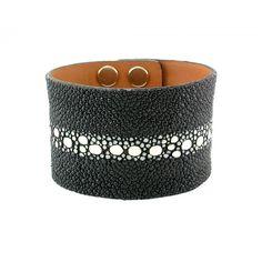 Mens Black Multi-Spine Stingray Exotic Skin Cuff Bracelet - Black
