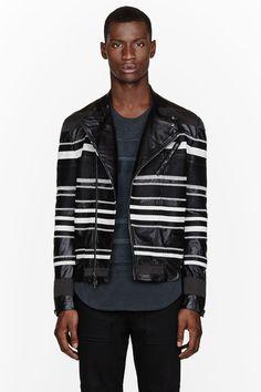 3.1 PHILLIP LIM Black embroidered stripe leather jacket