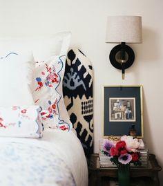 Lonny Magazine - Anna Burke - Headboard upholstered in Quadrille Kazak Ikat in Blue, D ... love the ikat!