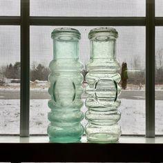 Antique Cherry Bottle Blown Glass Ground Top ONE Aqua Blue | Etsy Old Glass Bottles, Vintage Bottles, Mason Jar Wine Glass, Glass Vase, Beer Bottle, Sauce Bottle, Hand Coloring, Aqua Blue, Display