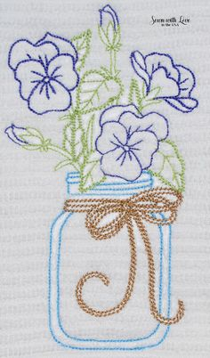 Violas Mason Jar Embroidered Cotton Dish by SewnWithLoveInTheUSA