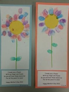 Thumb Print Flower For Mothers Day Card