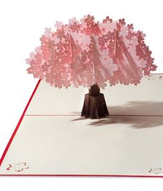 A paper pop up pink peach tree in full bloom emerges from this greeting card. Kirigami, Pop Up Flower Cards, Pop Up Cards, Scrapbook, Libros Pop-up, Flower Birthday Cards, Paper Engineering, Popup, Peach Trees