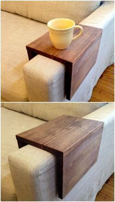 Wood Couch Arm Shelf: What an awesome idea!! I would have never thought to do this. #scrapwood #diy                                                                                                                                                                                 More