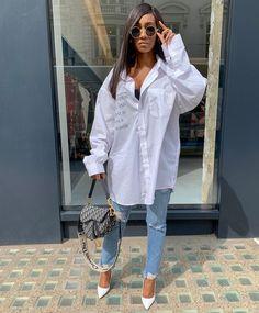 White button up Classic Denim Christian Dior Boyfriend Shirt Outfits, White Shirt Outfits, Edgy Outfits, Mode Outfits, Classy Outfits, Fashion Outfits, Dope Fashion, Denim Fashion, Camisa Oversized