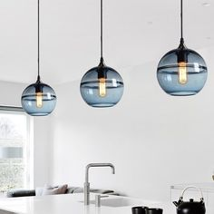 101 Luxurious Kitchen Design With Pendant Light Ideas - Pendant lights, drops, or suspenders, whatever you call them, the looks and purpose remain unchanged. They all refer to the hanging lights that instan. Kitchen Lighting Fixtures, Kitchen Pendant Lighting, Kitchen Pendants, Glass Pendants, Light Fixtures, Island Pendants, Blue Pendant Light, Pendant Lights, Modern Pendant Light