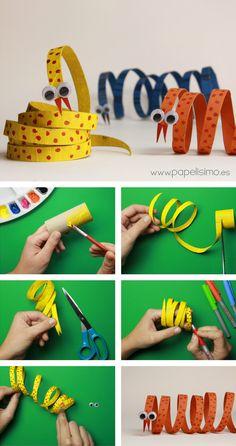 Serpiente: animales con rollos de papel higiénico | Aprender manualidades es facilisimo.com