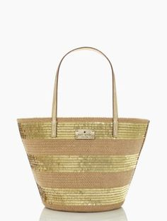 straw & gold sequin tote // Kate Spade
