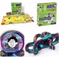 """Awarded the Astra """"Best Toys for Kids 2015"""" Award, and it's not a surprise! Looking for a single product that helps you reduce stress, strengthens your hands, cultivates creativity AND is more fun than you can picture? #CrazyAaron Thinking Putty Gift Bundle includes the latest 2015  Mixed By Me Glow Dark boxed Kit + Bonus Super Scarab iridescent super illusions extra tin."""