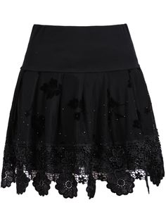 Black Bead Hollow Lace Skirt
