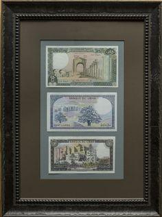 Lebanon Set of Framed Banknotes.