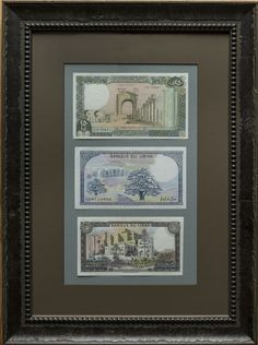Lebanon Set of Framed Banknotes.