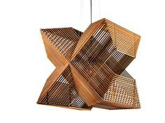 Alex Groot Jebbink's Angles pendant light uses MDF that's laser cut into 64 rectangles, varying in size from small to large, to form its graphic structure.
