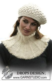 DROPS Neck warmer and hat in Eskimo ~ DROPS Design