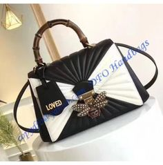 72a04ed81152 Gucci Queen Margaret Quilted Leather Top Handle Bag Black White Lose Muffin  Top, Quilted Leather