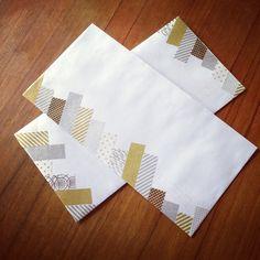 Envelopes decorated with washi tape
