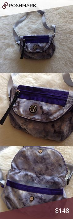 ULTRA RARE LULULEMON FESTIVAL BAG Highly sought out bag, this is in pristine condition, no flaws, long crossbody strap included. Purple tye dye with shades of grey and purple intermixed , many pockets which makes it a great little travel bag, easy to clean machine wash lululemon athletica Bags Crossbody Bags