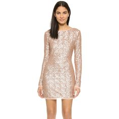 Rachel Zoe Sequin Mini Dress (€320) ❤ liked on Polyvore featuring dresses, rose gold, high neck dress, long sleeve dress, mesh dress, long sleeve short cocktail dresses and short sequin dress