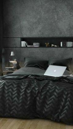 Una recámara en color negro suele ser sinónimo de elegancia y masculinidad. #Room #Ideas #Color #Home #Decoracion #IntimaHogar #Intima #Cobertores