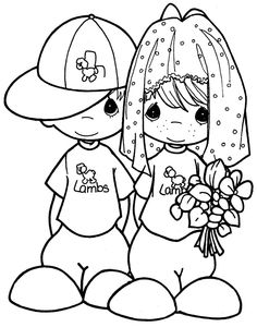 Kids playing to the wedding - free precious moments coloring pages | Coloring Pages