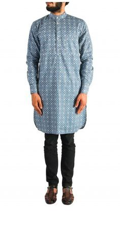 Stay cool this wedding season with this blue printed cotton kurta. Shop now! Nehru Jacket For Men, Nehru Jackets, Wedding Store, Men's Collection, Printed Cotton, Shop Now, Menswear, Tunic Tops, Indian
