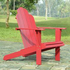 Outdoor Linon Acacia Wood Painted Adirondack Chair - 21150RED-01-KD-U