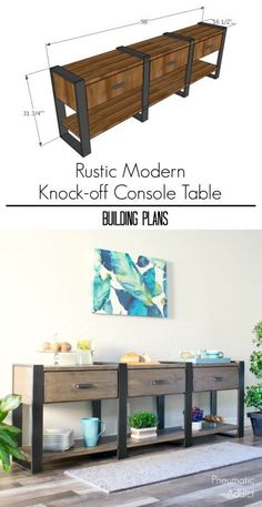 DIY Furniture : How to build an 8 foot long modern rustic console table or buffet from off the shelf lumber Types Of Furniture, Furniture Plans, Rustic Furniture, Living Room Furniture, Modern Furniture, Home Furniture, Furniture Stores, Antique Furniture, Outdoor Furniture
