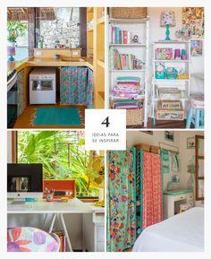 4 Ideias simples de decoração para você se inspirar e dar um charme extra para a sua casa: cortina na bancada ao invés de porta, estante com caixotes, guarda roupa improvisado e mesa de cavalete.