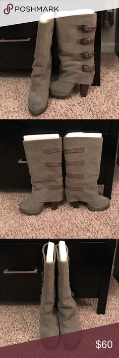 """Report Taupe mid-calf buckled boots Report Taupe mid-calf buckled boots - only worn a couple times - slightly distressed detailing on toes - no scuffs, tears, scratches, or damage - awesome boots!!!!!! Size 7 --- 4"""" heel Report Shoes Heeled Boots"""