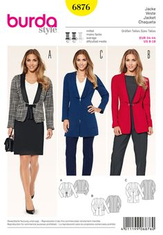 interesting alternatives for blazers. the eye-catching, elongated collar ends at the shoulder. a with rear peplum, fastened by a tie-band, b features a little chain closure, c is held by a zip fastener