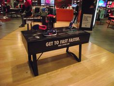 Nike Zoom Structure 18 retail table display sports shoe display.