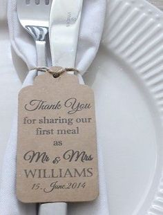 Personalised Wedding Favour Gift Tag \Thank you\ Guest Label Kraft\/ Napkin Ring | eBay