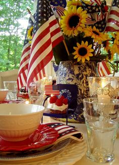 4th of July Table Setting and Decorating Ideas via Claudia Tatum