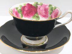 Pink Rose Black Royal Albert Tea Cup and Saucer, Pink Rose Cups, Black Cups, Tea Set, English Bone China Tea Cups, Tea Cups Vintage by AprilsLuxuries on Etsy