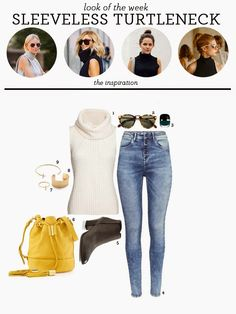 look of the week   sleeveless turtleneck   high waist jeans   bucket bag   marc jacobs enamored hi-shine nail lacquer