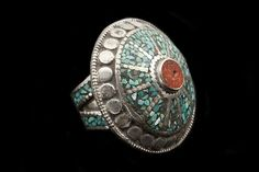 Nepalese Large Silvered Metal Circular Ring Inlaid With Turquoise Ands Cornelian