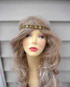 Gold color Headband, Beaded Boho headband, Elastic Headband Yellow Headband by knottycreationsbyET on Etsy https://www.etsy.com/listing/124735934/gold-color-headband-beaded-boho-headband