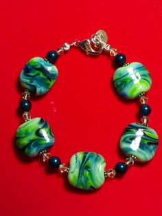 "Earth Sky Hand-Beaded 7"" Bracelet - Lampwork - $34.99 on Bonanza"
