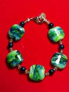 """Earth Sky Hand-Beaded 7"""" Bracelet - Lampwork - $34.99 on Bonanza"""