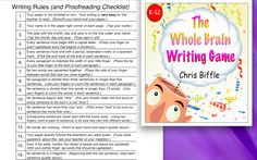 In the past year I have had a chance to try out the Whole Brain Writing Game . I like how it starts by creating sentences orally before pu. 4th Grade Writing, Middle School Writing, Kindergarten Writing, Teaching Writing, Elementary Teaching, Teaching Ideas, Literacy, Writing Games, Writing Resources