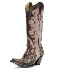Corral Women's Bone/Tan Inlay and Studs Boot - G1070